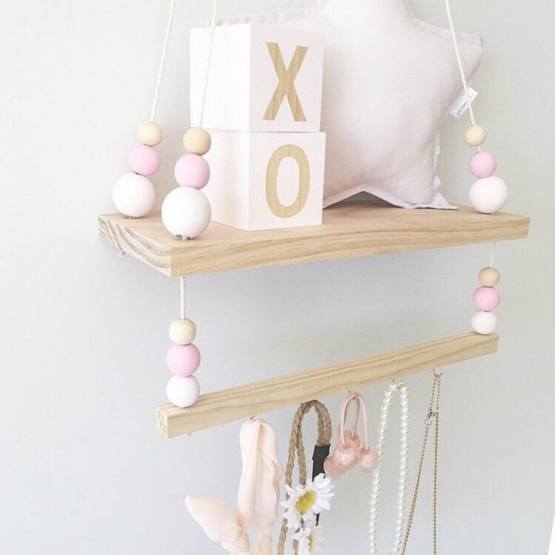 Fashion Nordic Style Wooden Bead Hanging Sundries Shelf Storage Rack Kids Room Decor Wall Ornament Home Decor