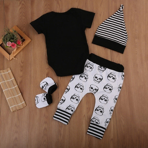 4 Piece Boys Outfit Skull Romper & Long Pants  With Hat