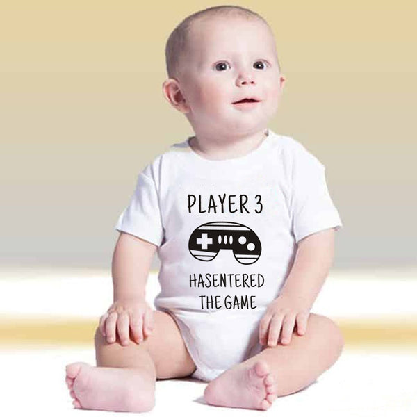 Cartoon Newborn Baby Bodysuit Player 3 Has Entered The Game Funny Letter Printed Romper Jumpsuit Outfit