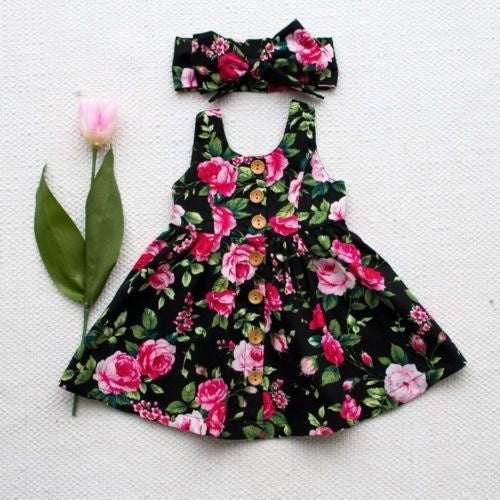 Infant Baby Girl Floral Summer Bowknot Party Princess Dress Sundress +Headband
