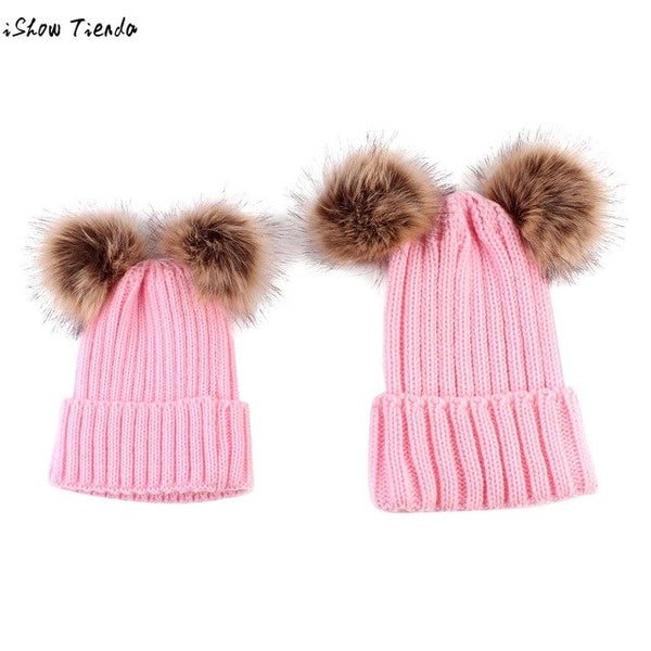 Parenting Winter Hat 2PCS Mom Baby Knitting Double