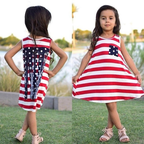 Girls July 4th Stars-And-Stripes Summer Dress