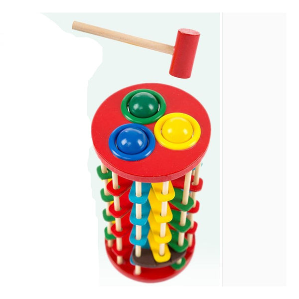 Hot Sale Infant Toy Educational Toy Wooden Multicolour Ball Ladder Toy Knock
