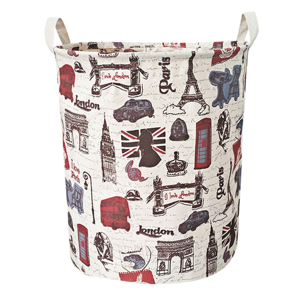 40cmx35cm Waterproof Canvas Laundry Clothes Basket Storage Basket Bin Folding Storage Box