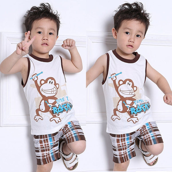 2 Piece Boys Summer Monkey Tank Top & Plaid Shorts Outfit