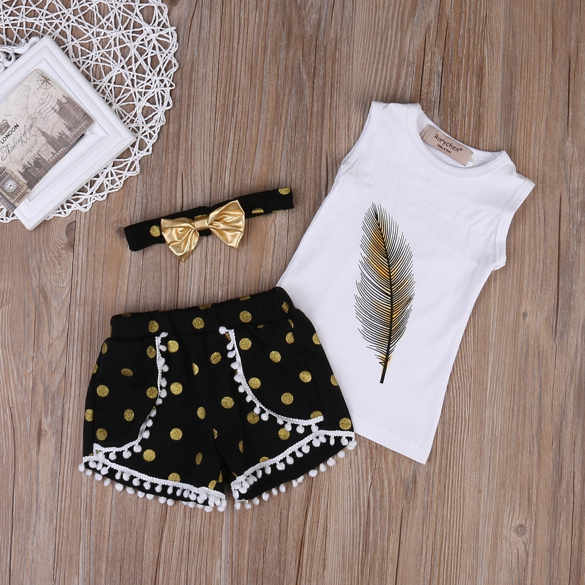Girls T-shirt, Shorts, Tops+Pants+Headband (3Pcs Set)