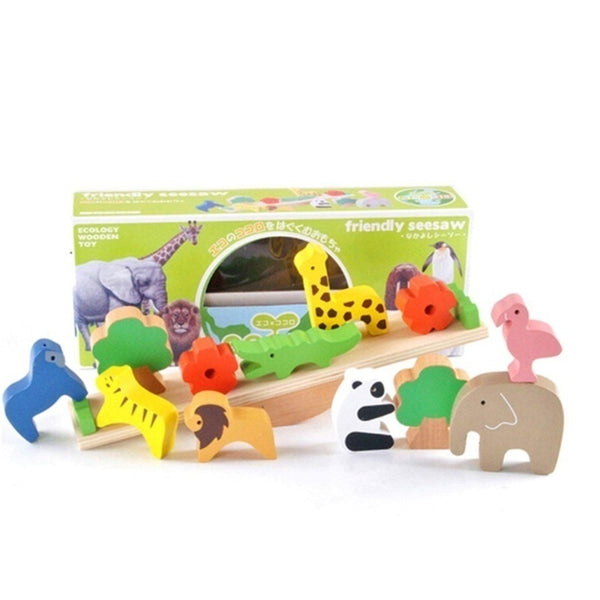 Forest Animal Wooden Balance Blocks Learning Game Educational Toys for Baby Kids Children