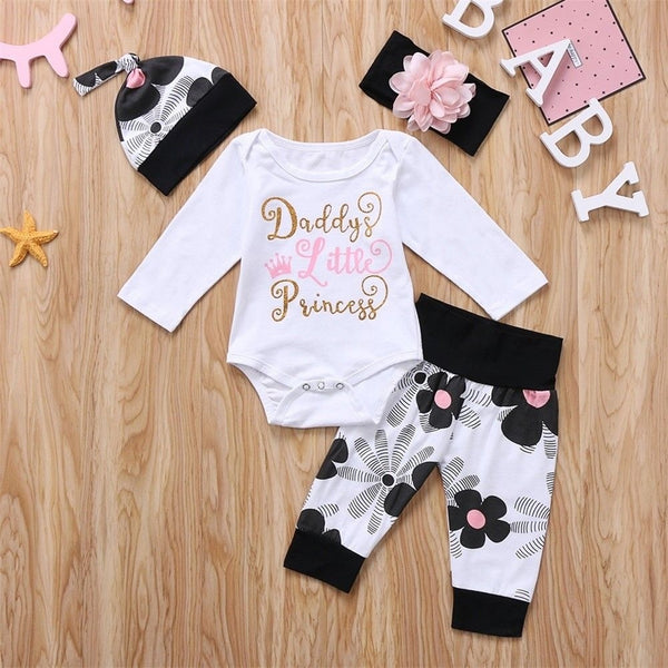 4pcs Newborn Kids Baby Girl Floral Clothes Jumpsuit Romper Bodysuit Pants Outfit