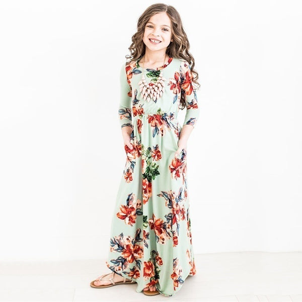 Girls Printed Dress Casual  Kids Casual Full Dresses Girl's Clothes