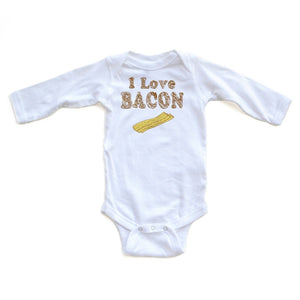 Apericots Funny I Love Bacon Long Sleeve Baby Bodysuit