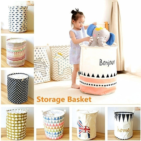 Round Canvas Basket Foldable Laundry Clothes Washing Toy Storage Hamper Bin Storage Organization