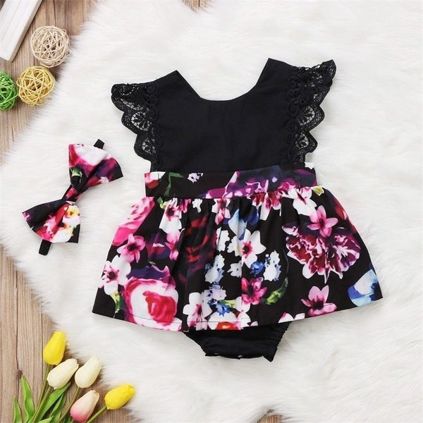 Floral Baby Kids Girls Sister Matching Floral Jumpsuit Romper Dress+Headband Outfits Set