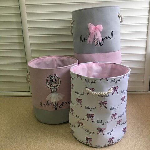 35*40cm Pink Clothes Basket Sweet Ballerina Girl Fabric Laundry Baskets