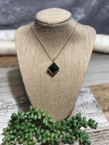 Octahedron Gemstone Pendant Necklaces