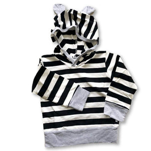 Striped Ear Detail Long Sleeve Hoodie