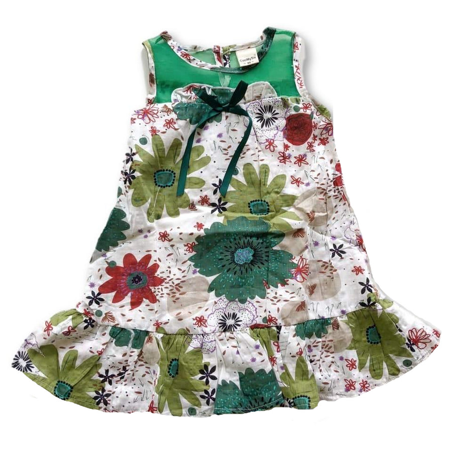 Green Floral Frill Hem Dress