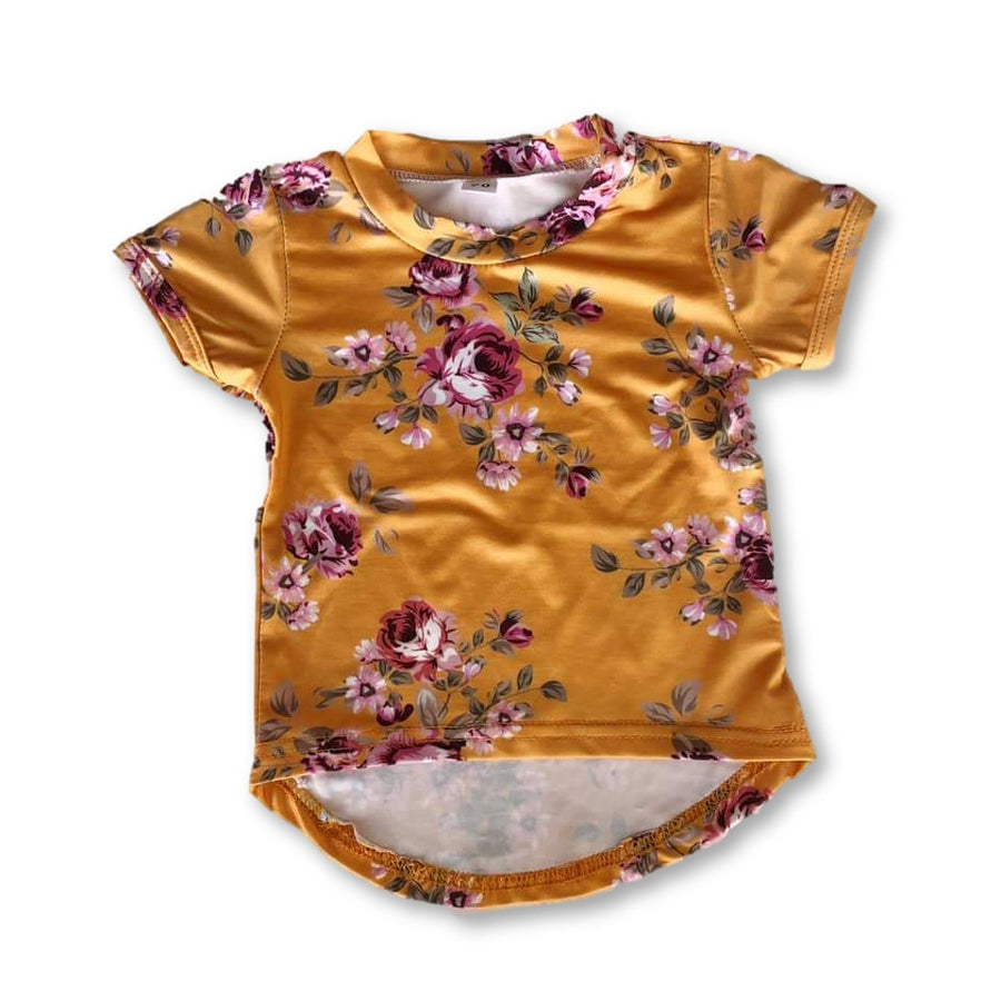 Yellow Floral High Low Shirt