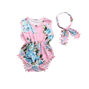 Pom Pom Floral Romper and headband