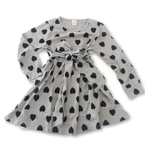 Gray Heart Print Dress