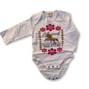 White Graphic Slogan Onesie