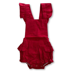 Red Ruffle Detail Romper