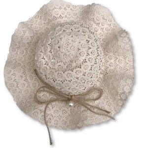 Ivory Lace Detail Beach Hat