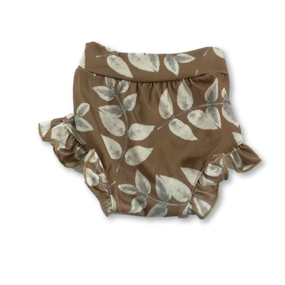 Brown Frill Detail Leaf Shorties
