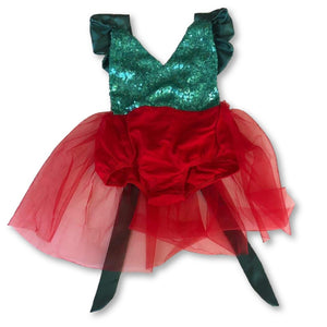 Red & Green Sequin Tutu Halter Romper