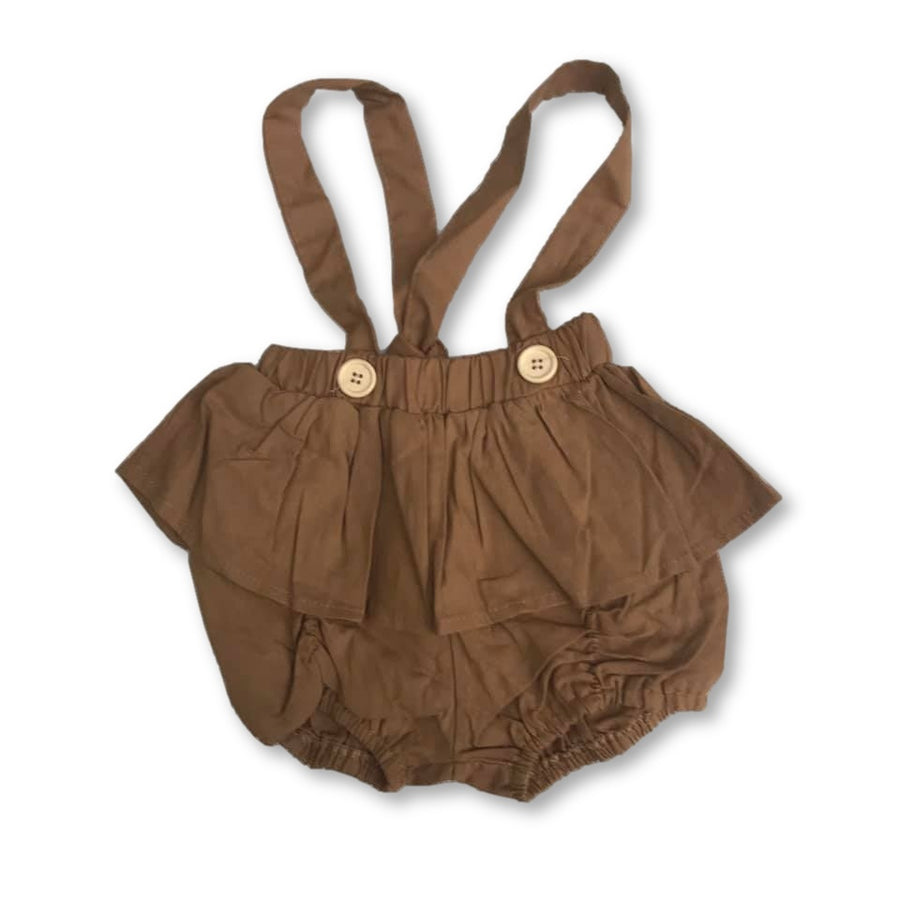 Brown Ruffle Detail Shortspenders