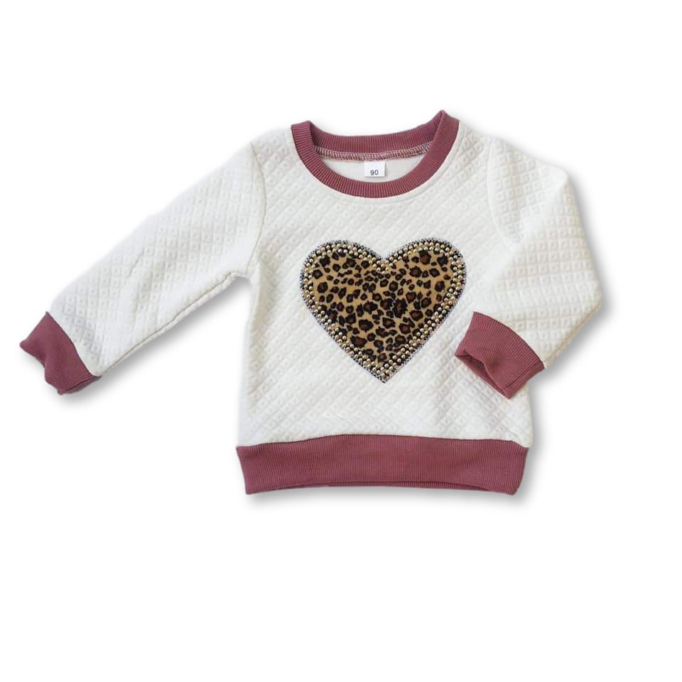 White Leopard Heart Top