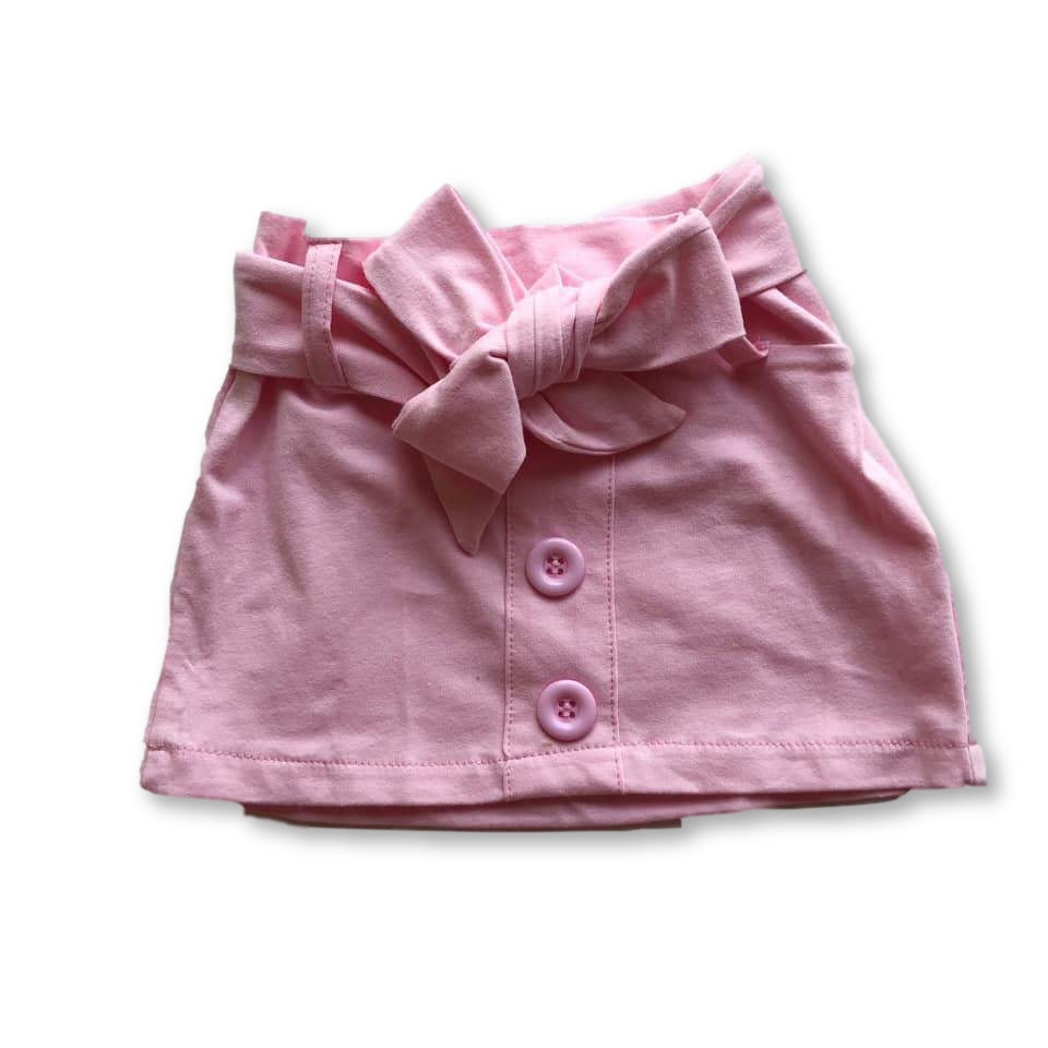 Pink Button Detail Belted Skirt