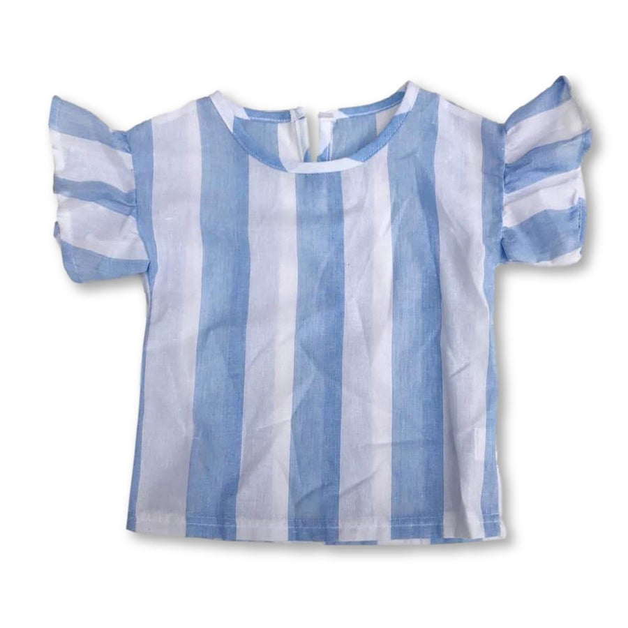 Blue Striped Flutter Detail Top