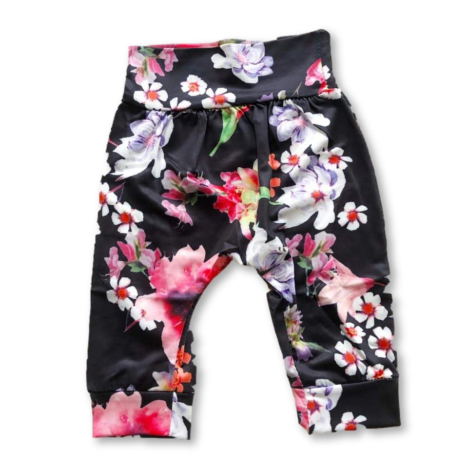 Black Floral Harem Pants