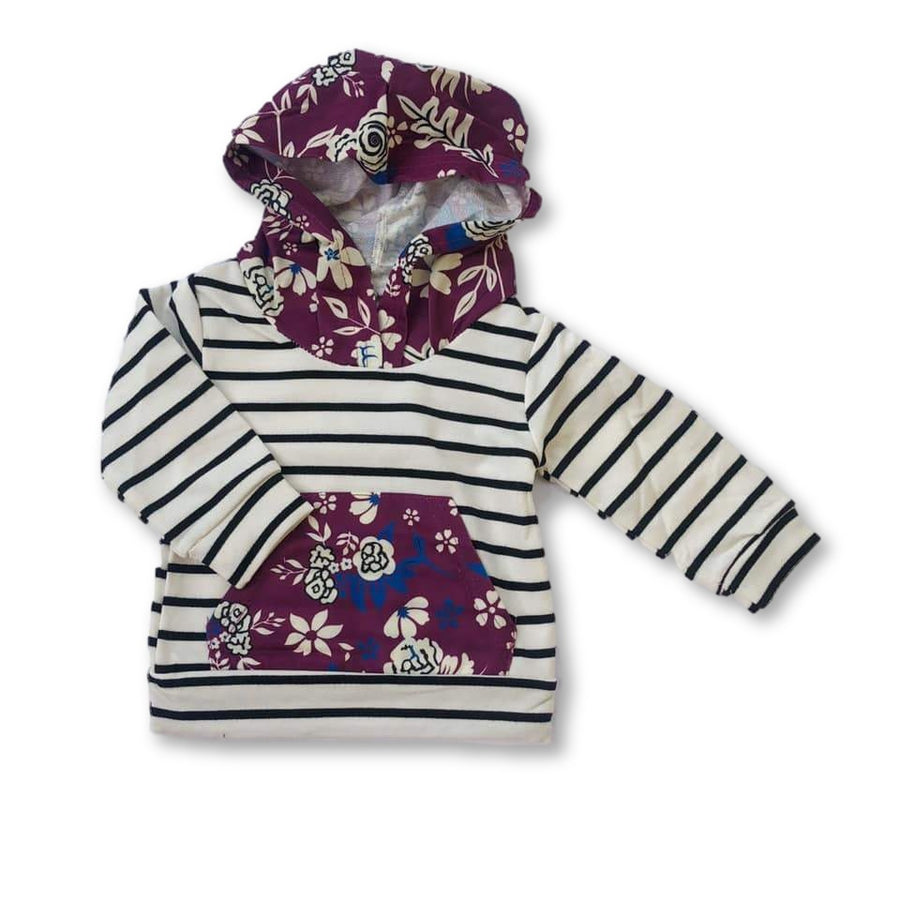 Striped Purple Floral Hoodie