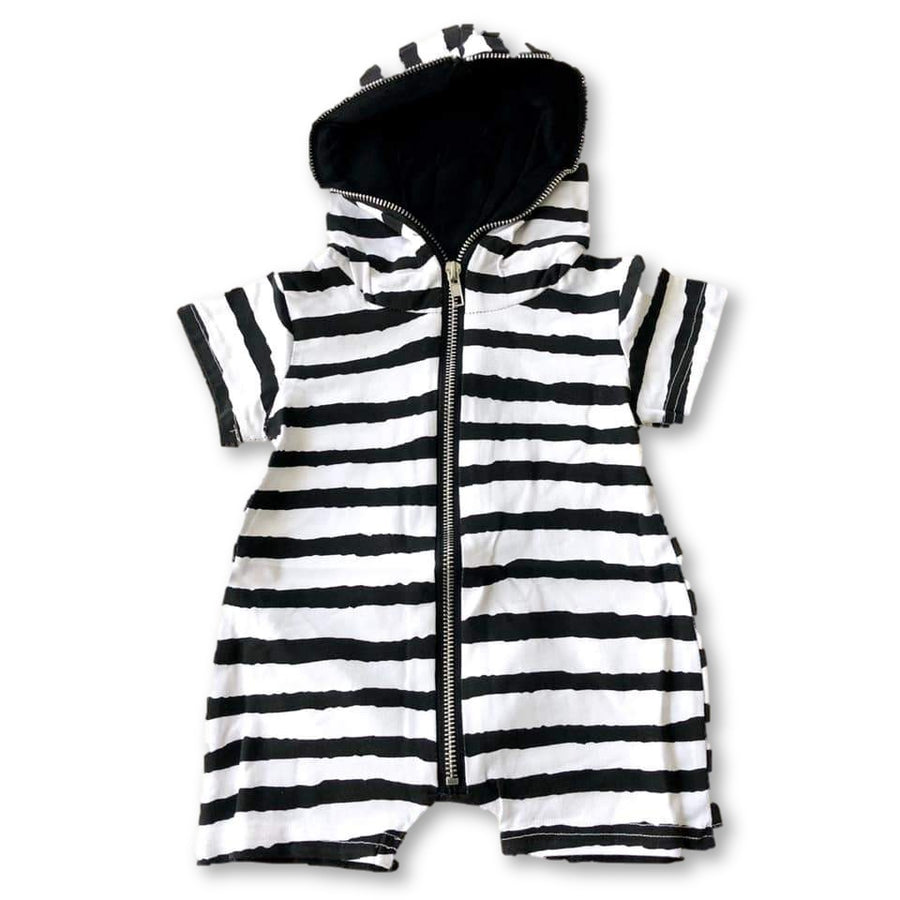 Striped Zippered Hoodie Romper
