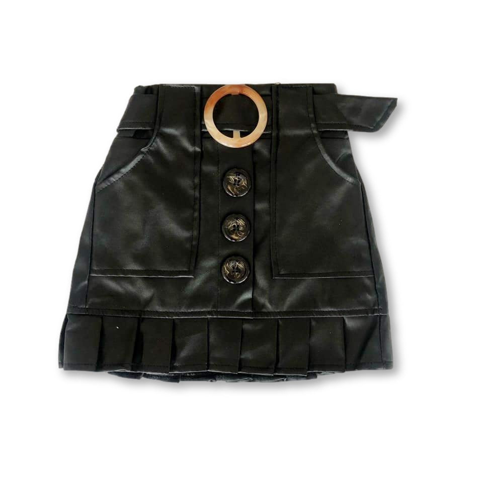Black Faux Leather Frill Hem Skirt