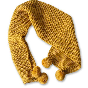 Yellow Pom Pom Crochet Scarf