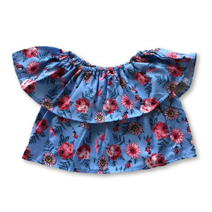 Blue Ditsy Floral Frill Top