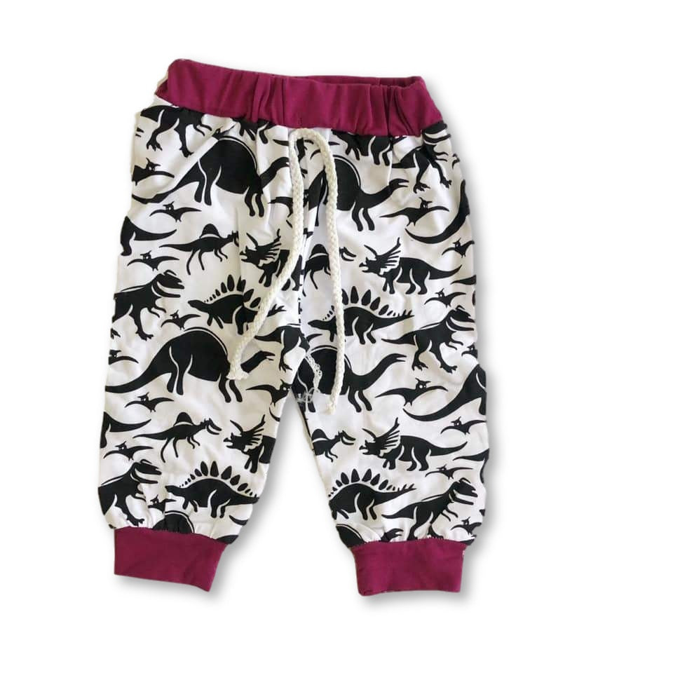 White And Purple Dinosaur Pants