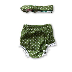 Green Polka Dot Pom Pom Detail Shorties
