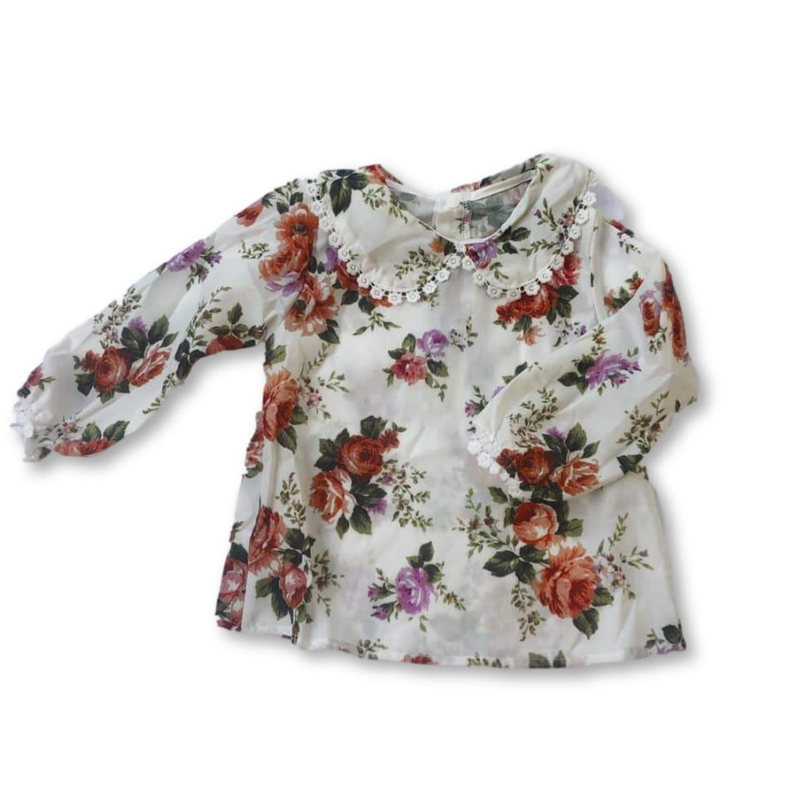 White Floral Detail Hem Top