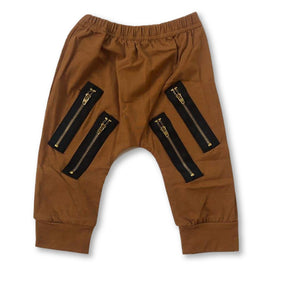 Brown Zip Detail Pants