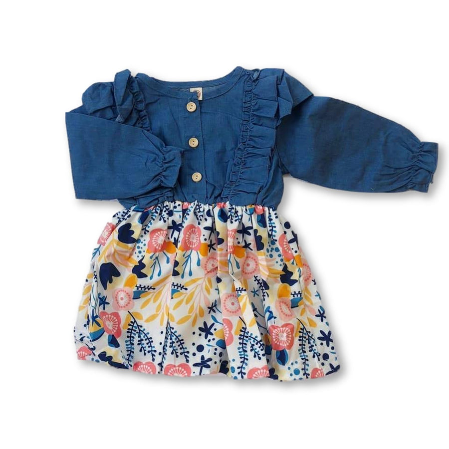 Faux Denim Ruffle Detail Floral Dress