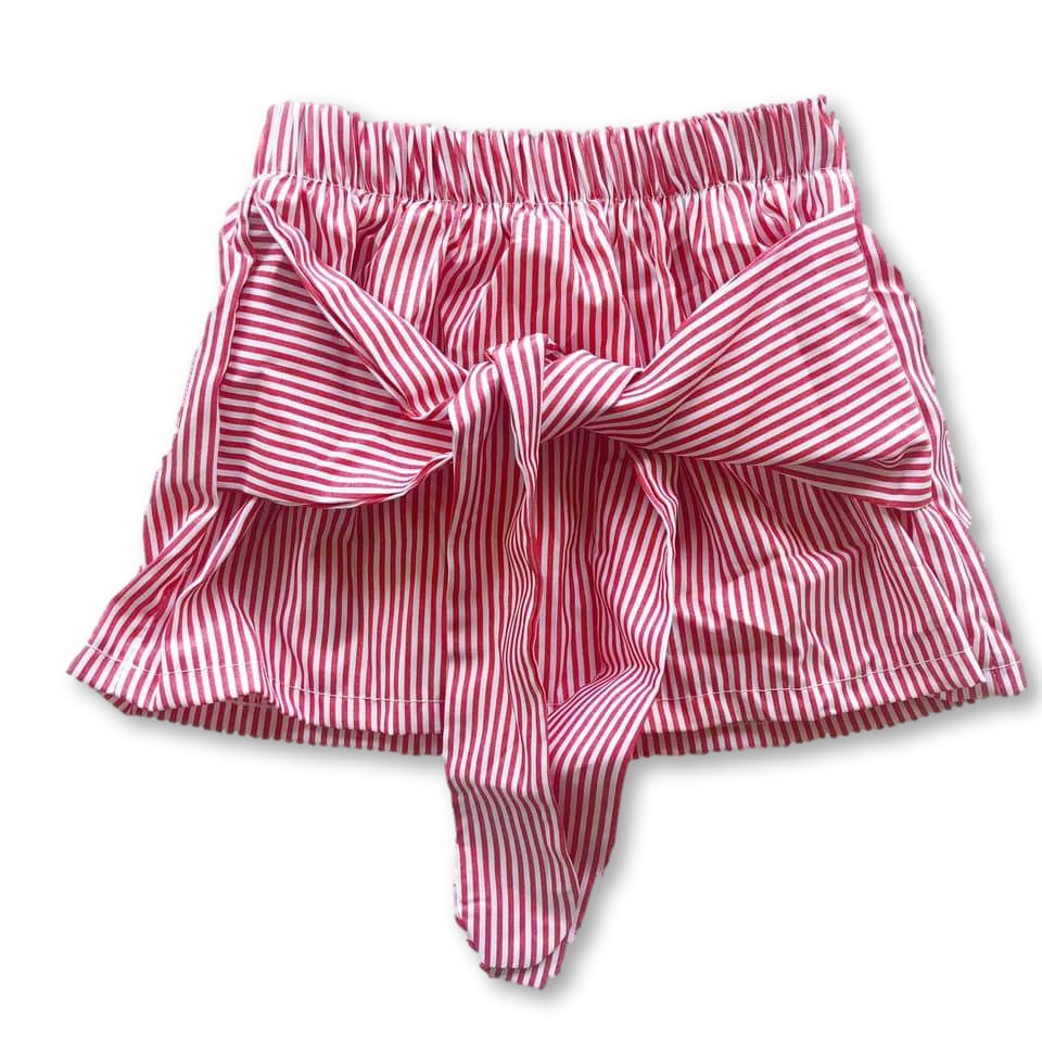 Red Striped Tie Front Detail Skirt