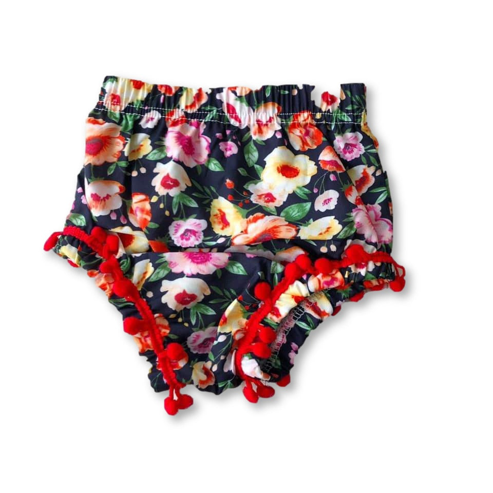 Floral Pom Pom Detail Shorties