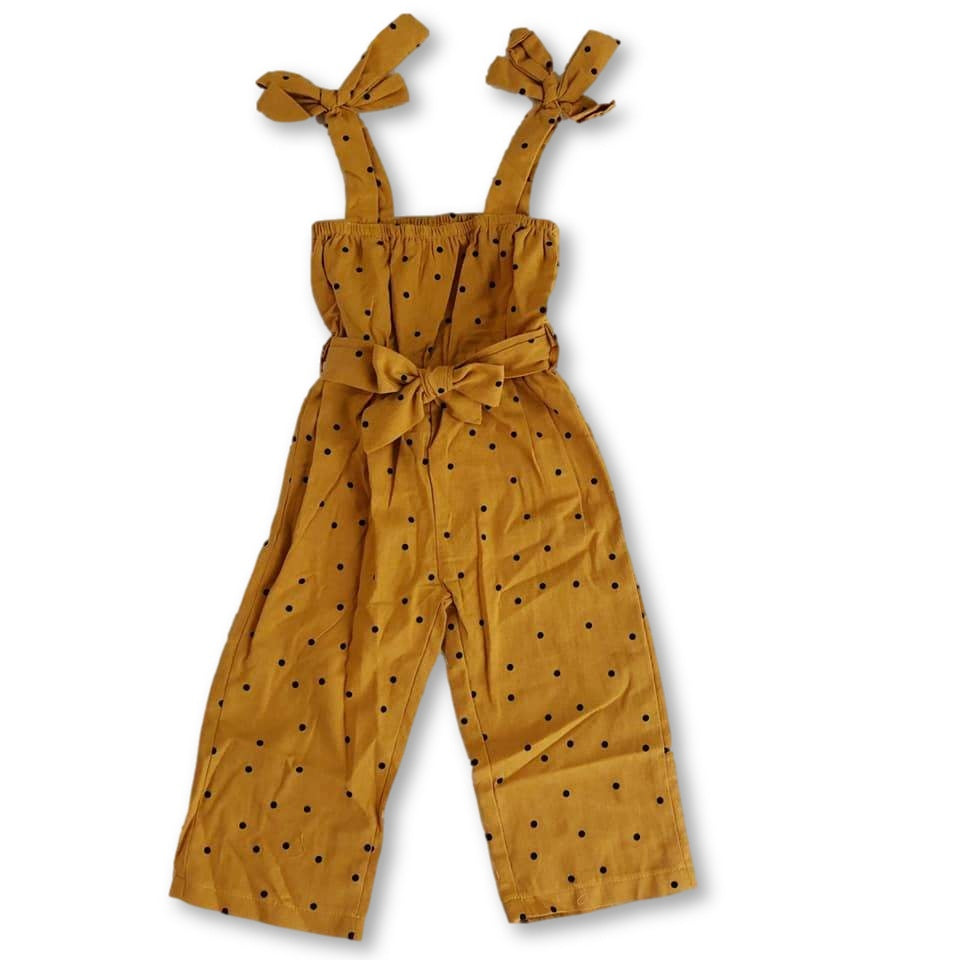 Yellow Dotted Belt Detail Jumpsuit