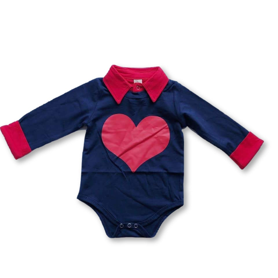 Navy and Red Heart Onesie