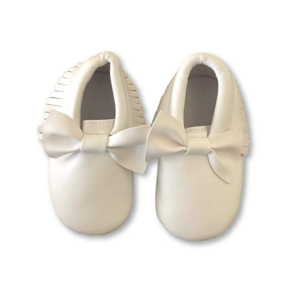 White Bow Detail Fringe Moccs
