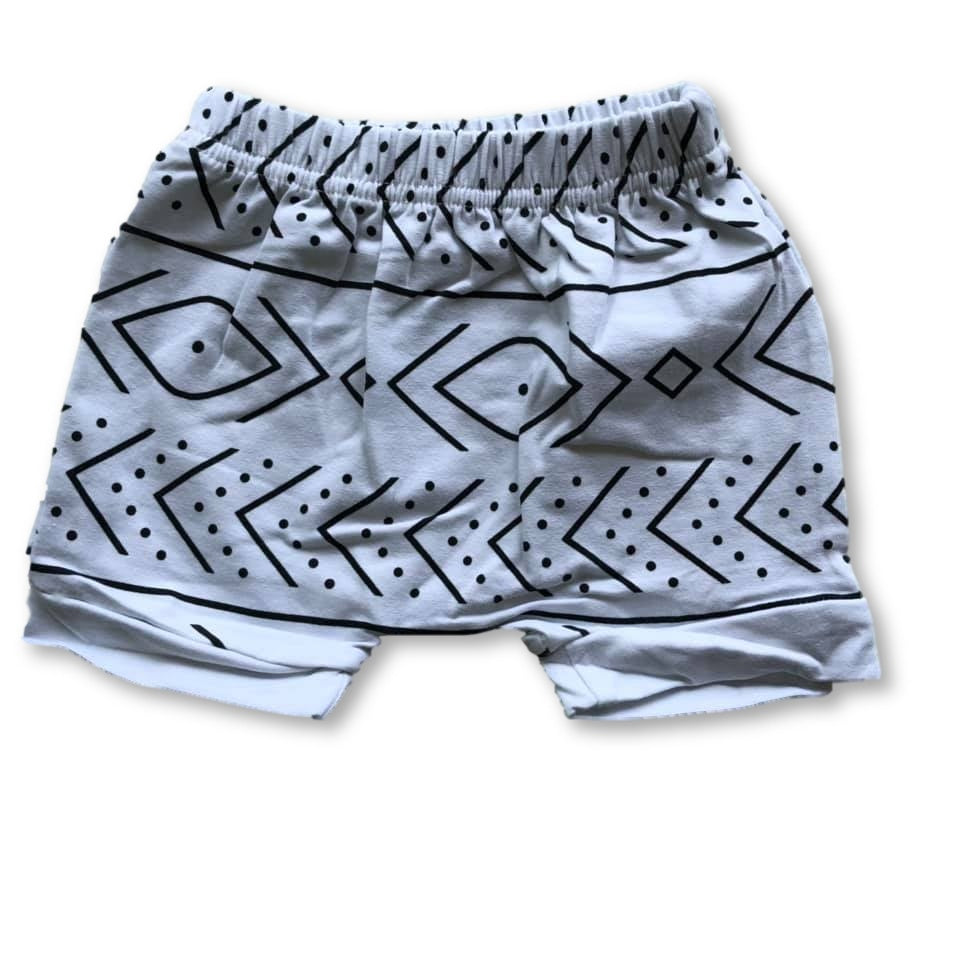 White Tribal Harem Shorts