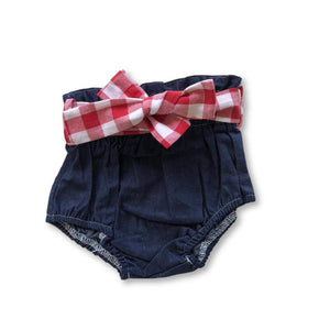 Blue Paperbag Belted Denim Shorties